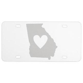 Herz-Georgia-Staats-Silhouette US Nummernschild