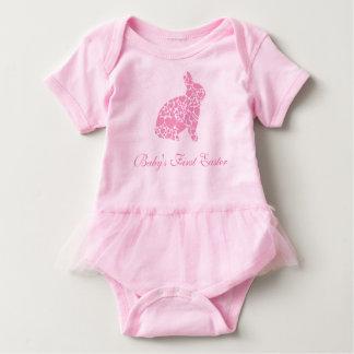 Herz-Häschen des Ostern des Babys erstes rosa Baby Strampler