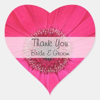 Herz-Hochzeit danken Ihnen Aufkleber --  Rosa