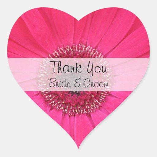 Herz-Hochzeit danken Ihnen Aufkleber --  Rosa Gerb