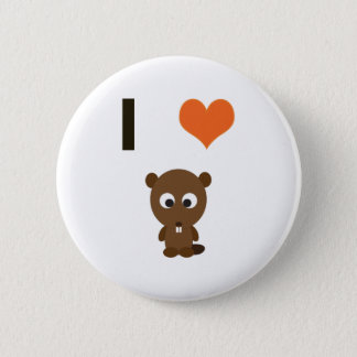 Herz I (Liebe) Biber Runder Button 5,1 Cm
