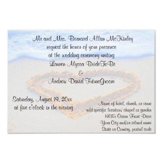 Herz im Sand-Strand-Hochzeits-Empfang 8,9 X 12,7 Cm Einladungskarte