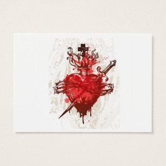 Herz in den Flammen verwundet durch Dolch Visitenkarte