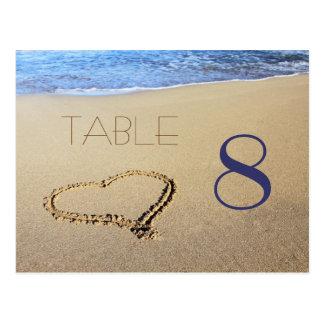 Herz in den Sand-Tischnummer-Karten Postkarte