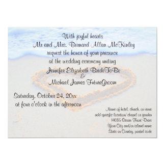 Herz in der Sand-Strand-Hochzeit 16,5 X 22,2 Cm Einladungskarte