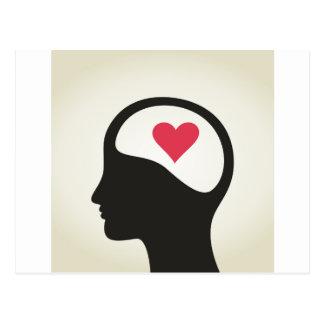 Herz in einem Kopf Postkarte