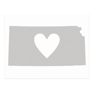 Herz-Kansas-Staats-Silhouette Postkarte