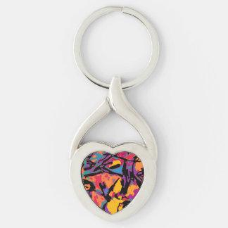 Herz Keychain mit bunter Kunst durch PiCassieO Schlüsselanhänger