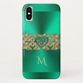 Herz-Knoten-Monogramm Iren-Kelly grünes keltisches iPhone X Hülle
