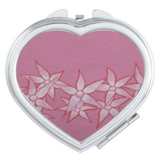 Herz-kompakter Spiegel mit gemalten Blumen Taschenspiegel