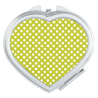 Herz-kompakter Spiegel/Tupfen/Olive Taschenspiegel