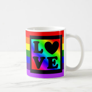 Herz-Liebe-Knopf-Kaffee-Tasse des Regenbogen-LGBT Kaffeetasse
