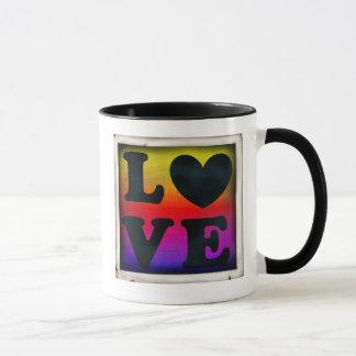 Herz-Liebe-Knopf-Kaffee-Tasse des Regenbogen-LGBT Tasse