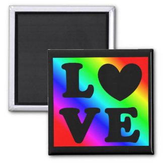 Herz-Liebe-Magnet des Regenbogen-LGBT Quadratischer Magnet