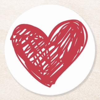 Herz-Liebe-rotes weißes Hochzeits-Party-Brautparty Runder Pappuntersetzer