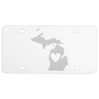 Herz-Michigan-Staats-Silhouette US Nummernschild