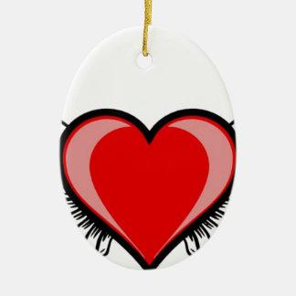 Herz mit Flügeln Ovales Keramik Ornament