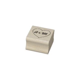 Herz mit Initialen-Briefmarke Gummistempel
