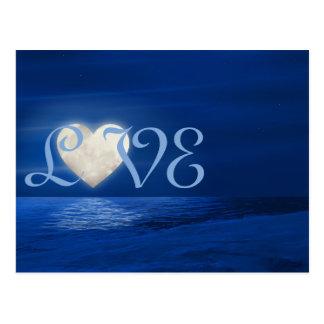 Herz-Mond mit Snowy-Strand LIEBE Winter Postkarte