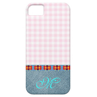 Herz-Muster-Initialen-Monogramm-Girly Denim-Rosa Barely There iPhone 5 Hülle