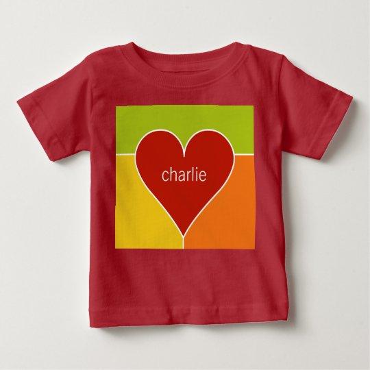 Herz-Muster-Name-Babykleidung Baby T-shirt
