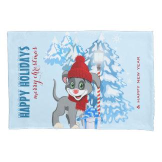 Herz-Nasen-Welpen-WeihnachtsCartoon Kissenbezug
