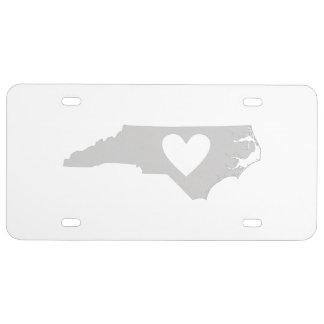 Herz-Nord-CarolinaStaats-Silhouette US Nummernschild