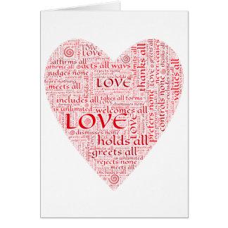 Herz oder Valentine, die unbedingte Liebe ehren Karte