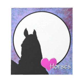 Herz-Pferde I (lila/Blau) Notizblock