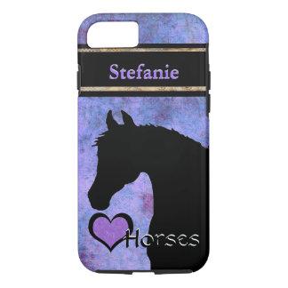 Herz-Pferde III kundengerecht (lila/Blau) iPhone 8/7 Hülle