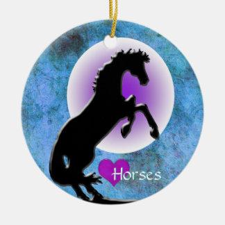 Herz-Pferde V (Blau/Grün) Keramik Ornament