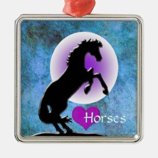 Herz-Pferde V (Blau/Grün) Silbernes Ornament