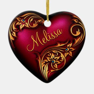 Herz-Rolle-rotes Goldpersonalisierte Verzierung Keramik Herz-Ornament