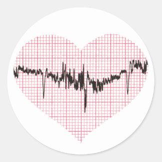 Herz-Schlag VI Runder Aufkleber