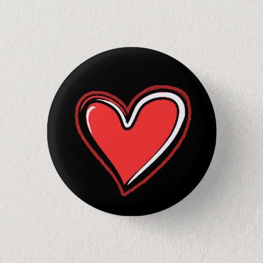 Herz-Schwarzer Hintergrund Runder Button 3,2 Cm