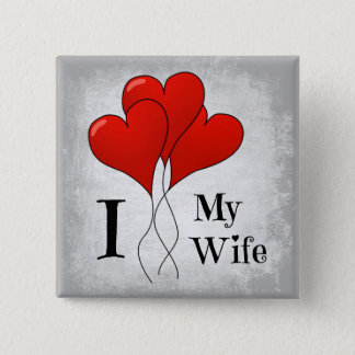 Herz steigt i-Liebe meine Ehefrau im Ballon auf Quadratischer Button 5,1 Cm