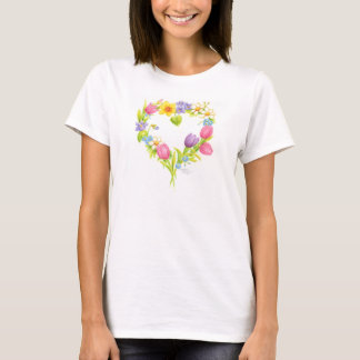 Herz-T - Shirtwatercolor-BlumeWreath T-Shirt