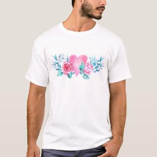 Herz und -Blumen des Valentines Tages T-Shirt