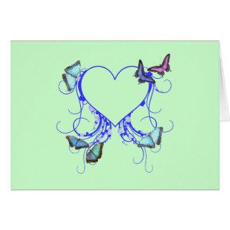 Herz und Schmetterling Karte