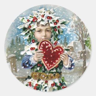 """""""Herz-und Schnee-"""" Vintages Weihnachten Runder Aufkleber"""