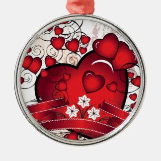 Herz und volles der Liebe in den Valentines Rundes Silberfarbenes Ornament