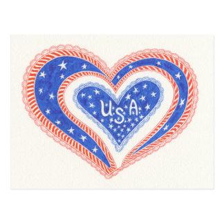 Herz USA-Postkarte Postkarte