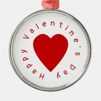 Herz-Valentinstag Silbernes Ornament