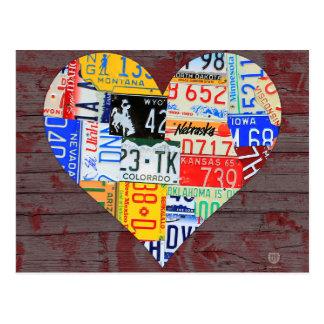 Herz von Amerika recycelte Lizenz-Platten-Kunst Postkarte