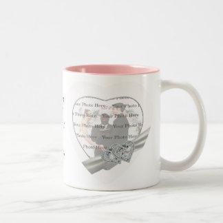 Herz-weiße Hochzeits-Tasse Zweifarbige Tasse