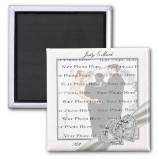 Herz-weißer Hochzeits-Quadrat-Magnet Quadratischer Magnet