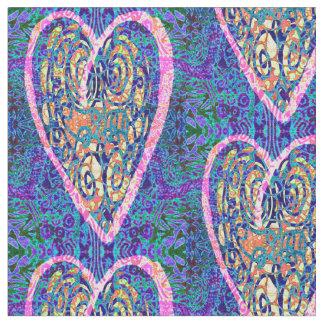 Herzen auf lila Muster Stoff