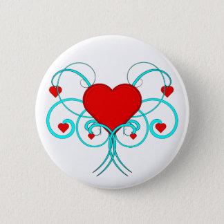 Herzen blühen runder button 5,1 cm