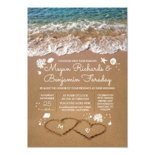 Herzen In Der Sand Sommer Strand Hochzeit Einladung
