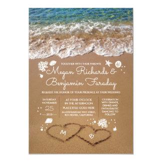 Herzen in der Sand-Sommer-Strand-Hochzeit Karte